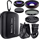 3 in 1 Mobile Phone Camera Lens Kit, AFUNTA HD Clip-on 0.5X Super Wide Angle, 12.5X Macro and Circular Polarized Lens CPL Compatible Smartphone iPhone iPad Samsung Most Cell Phone Tablet