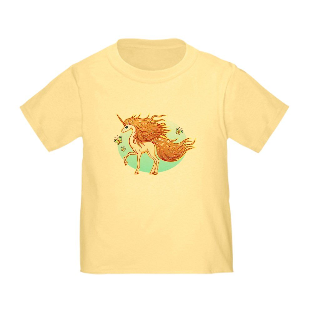 Truly Teague Toddler T-Shirt Golden Sparkle Unicorn with Butterflies