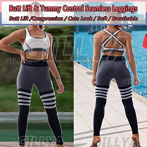 GILLYA High Waist Gym Seamless Leggings Workout Tights for Women Butt Lift Tummy Control Leggings Seamless Yoga Pants 5