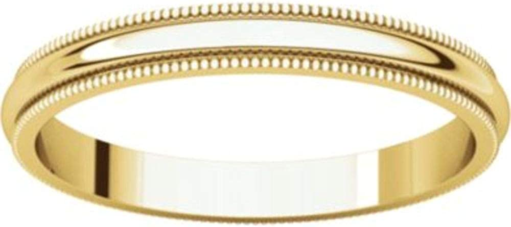 Bonyak Jewelry 18k Yellow Gold 2.5 mm Milgrain Band Size 10.5