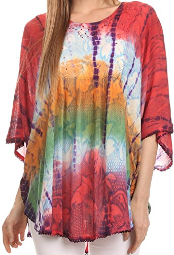 (Sakkas 14031 - Ellesa Ombre Tie Dye Circle Poncho Blouse Shirt Top with Sequin Embroidery,Coral / Blue,One Size Regular)