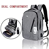 Laptop Backpack,Anti Theft College Backpack with USB Charging Port and Earphone Port Travel Backpack for Women Men, Computer Backpacks Fits Business Laptops Notebooks 15.6 Inches (Grey)