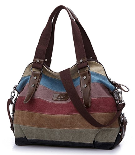 FreeMaster Women's Canvas Multi Color Hobos Shoulder Bag Tote Handbag