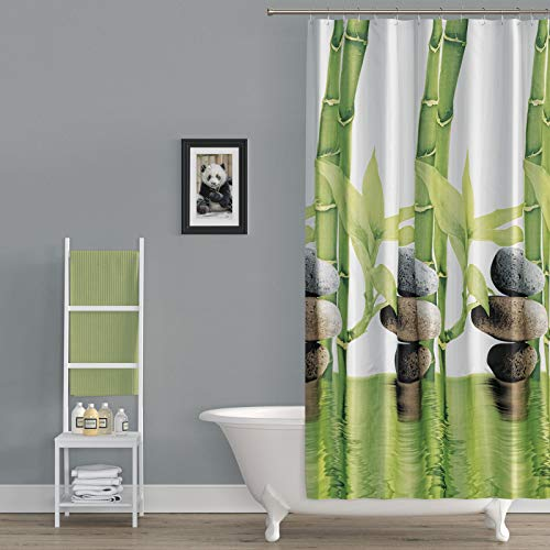 (American Bath Linen Bamboo Print Shower Curtain. Size 47