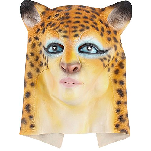 [Latex Headgear Beauty Leopard Catwalk Animal Headgear Mask Halloween Christmas Party Supply] (Funny Human Cat Costumes)
