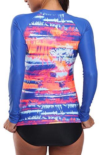 V FOR CITY Women's Long Sleeve Rashguard UPF 50+ Rash Guard Top UV Swim Shirt Swimsuit Top XL by V FOR CITY (Image #1)