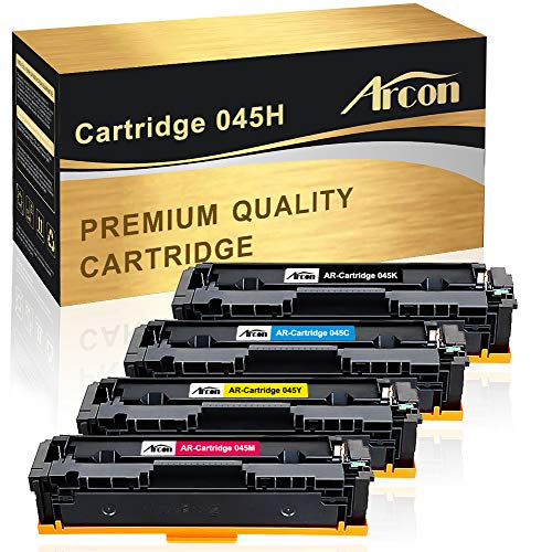 Arcon Compatible Toner Cartridge Replacement for Canon Cartridge 045 045H CRG-045H CRG-045 Canon 045 Canon Color ImageCLASS MF632Cdw MF634Cdw LBP612Cdw MF632 MF634 Laser Printer Toner Ink (BCMY,4PK) ()