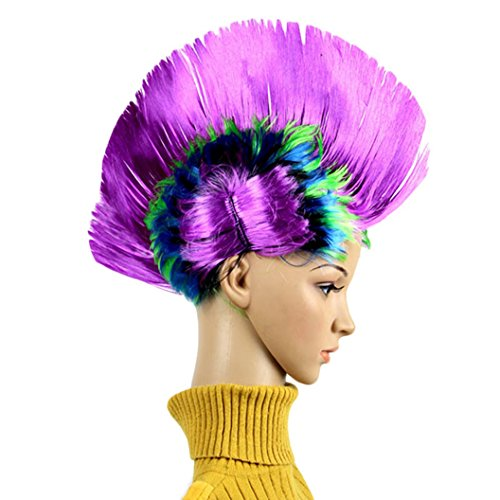 [DEESEE(TM) Hallowmas Masquerade Punk Mohawk Mohican hairstyle Cockscomb Hair Wig Cosplay wig] (70s Punk Costumes)