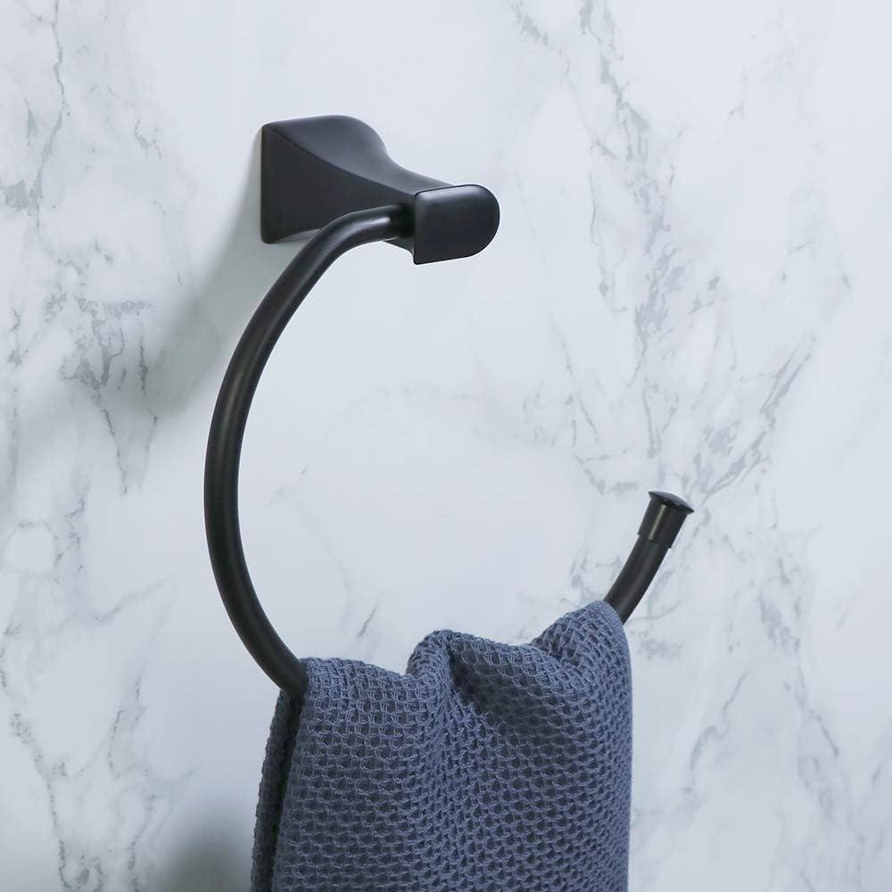 Alise Bathroom Towel Ring Towel Holder Wall Mount Towel Rack,GOKE2307-B Matte Black
