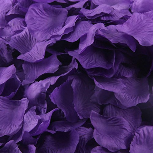 PHOTNO 200pcs Rose Petals Artificial Flower Wedding Favor Bridal Shower Aisle Vase Decor Confetti (Purple)