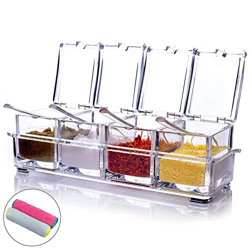 - MONICA Clear Seasoning Rack Spice Pots-4 Piece Pure Acrylic Seasoning Box-Storage Container Condiment Jars-Cruet with Cover and Spoon-Included 2 Microfibre Cloths