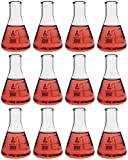 Eisco Labs Erlenmeyer (Conical) Flask, Borosilicate, 100mL, Pack of 12