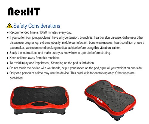 NexHT Mini Fitness Vibration Platform Whole Body Shape Exercise Machine with Built-in USB Speaker(89012A), Fit Vibration Plate Massage Workout Trainer with Two Bands &Remote,Max User Weight 330lbs.Red by NexHT (Image #6)