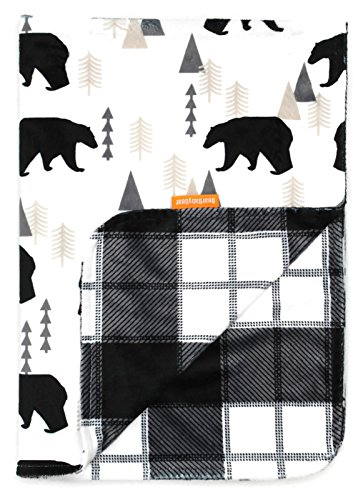 Dear Baby Gear Deluxe Reversible Baby Blankets, Custom Minky Print Black Bears, Black and Grey Plaid Minky
