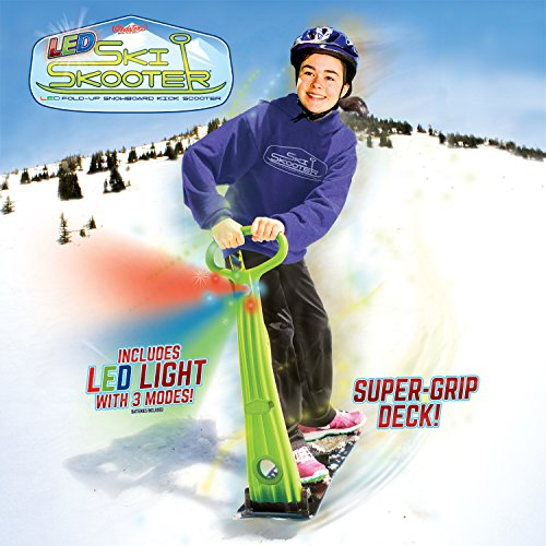 (GeoSpace Original LED Ski Skooter: Fold-up Snowboard Kick-Scooter for Use on Snow and Grass, Assorted Colors (Red, Green, or Blue))