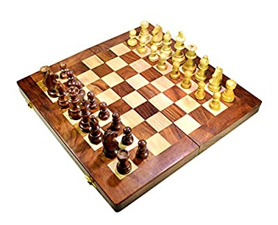 Amazing India Handmade Wooden Travel Chess Set with Staunton Pieces and Folding Game Board 14 Inch