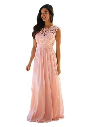 Aokaixin Long Lace Top Chiffon Bridesmaid Dresses Wedding Guest Wear Dress At Amazon Womens Clothing Store