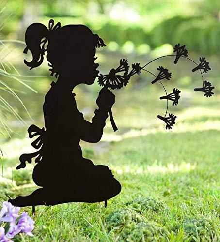 Wind & Weather GO8056 Dandelion Girl Yard Art, Black