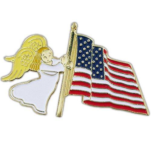 Flag Pin Angel - PinMart American Flag Waving Patriotic Religious Spiritual Angel Lapel Pin