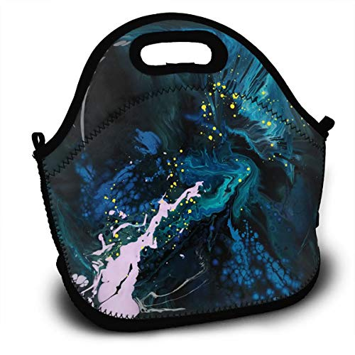 (NBXIXI Fractal Spiral Flow Navy Blue Pigment Splash?Cool Lunch Bags with Shoulder Strap Multi-Purpose Bento Boxes Insulated and Reusable Tote Bag for Youth)