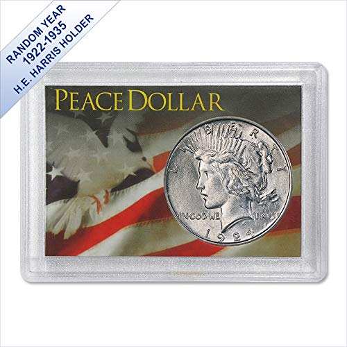 (1922-1935) Peace Silver Dollar (AU) - Harris Gift Holder $1 About - Peace 1964 Silver Dollar