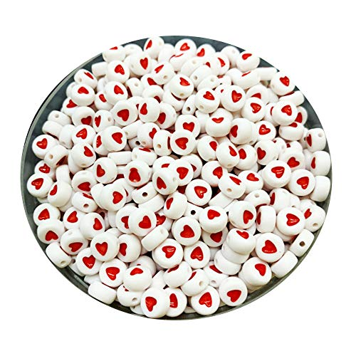 iZasky Heart Pattern Beads 7mm 100Pcs - Acrylic Bead White Flat Round Shape Love Hearts for Making Key Chain, Bracelets, Necklaces and Jewelry (Red #1)