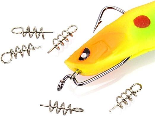 50x Soft Lure Bait Fishing Hook Centering Pin Lock Spring Stainless Steel Kit