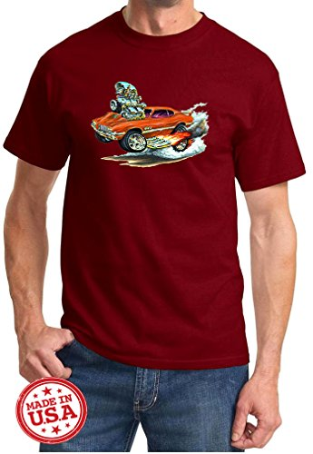 Maddmax Car Art 1970 1971 1972 Oldsmobile 442 Cutlass Cartoon Muscle Car Design Tshirt XL Maroon ()