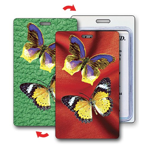 Lenticular Luggage Tag Plastic Loop, 3D Butterfly Changing Colors, Bags Central