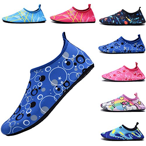 FASHOE Kids Swim Shoes Quick Dry Barefoot Socks Toddler Water Shoes Baby's Boy's Girl's -09Blue-24 by FASHOE