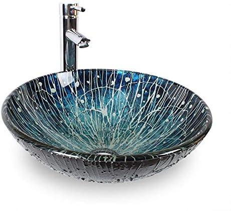 洗面ボウル ブルーテクスチャ浴室強化ガラス洗面化粧台ラウンドボウルシンク付きの蛇口&ソリッドブラスポップアップドレインセット 浴室の台所の流し (Color : Blue, Size : 42x42x14.5cm)