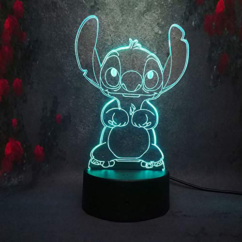 Amroe Cute Cartoon Stitch 3D Night Light 7 Colors Led Lamp USB Remote Touch Baby Room Bedroom Table Light Kids