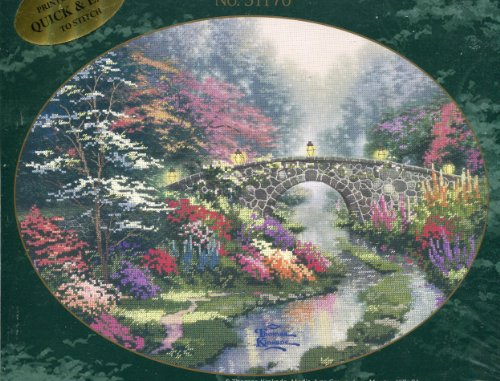 Thomas Kinkade Painter of Light Stillwater Bridge Embellished Cross Stitch Kit