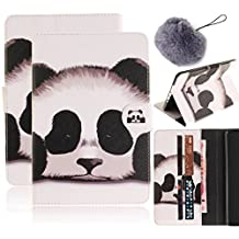 Galaxy Tab S2 9.7 Case,Vandot PU Leather Auto Wake/Sleep Magnetic Stand Wallet Case [Card Slots] Flip Folio Cover Colorful Painting Pattern for Samsung Galaxy Tab S2 9.7 inch SM-T810 T815+Pompon Ball-Cute Panda