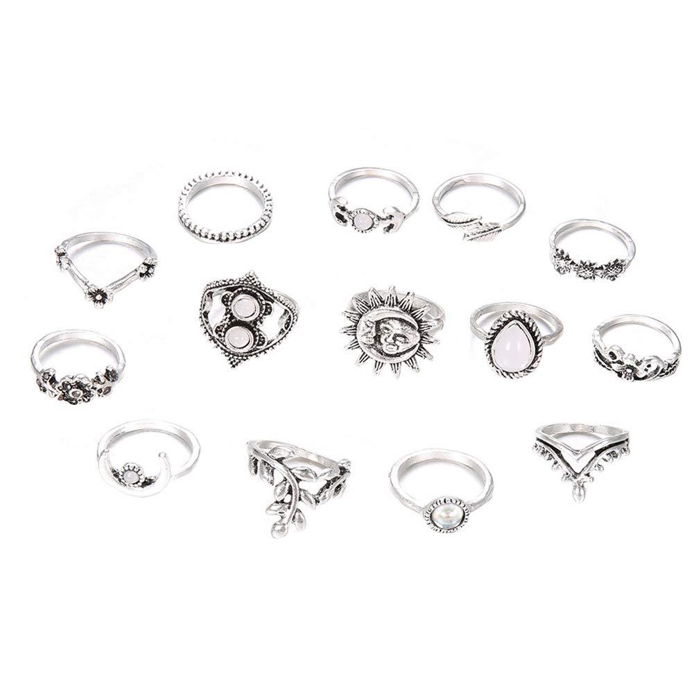 Slendima 14Pcs Vintage Style Moon Sunflower Finger Midi Knuckle Rings Set Women Party Jewelry Silver