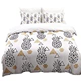Linen_specialist Duvet Cover Set Pineapple Pattern Printed King Size, Soft Microfiber Geometric Pineapple White Bedding Set with Zipper Closure and Corner Ties for Kids, Boys, Girls, Teens, Adults