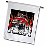 Mark Grace HOT RODS - live to rod - Street rod popping wheelies and jumping through flames - 18 x 27 inch Garden Flag (fl_243293_2)