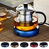 UNAKIM-Coffee Electric Tray Heater Water Kettle Tea Hot Pot Portable Warmer New Glass (red)