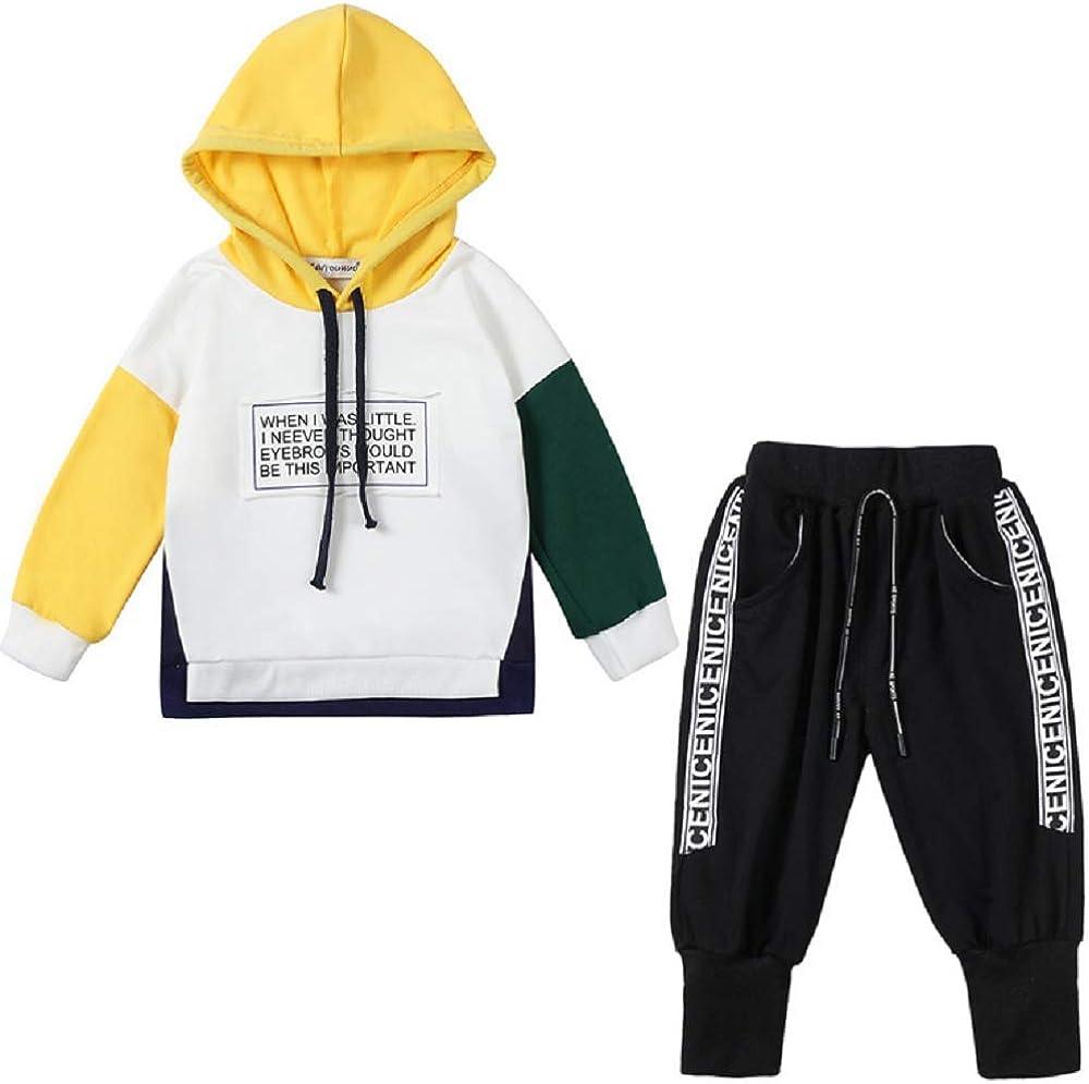 Toddler Infant Boys Hip hop Long Sleeve Hoodie Tops Sweatsuit+Pants Outfit Set Kids Fashion Tracksuit