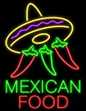 Desung Brand New 32'' Mexican Food Sombrero Peppers Neon Sign (Multiple Sizes Available) Custom Restaurant Food Shop Neon Lights Lamp Sports Bar Beer Signs Glass Neon Light CA129