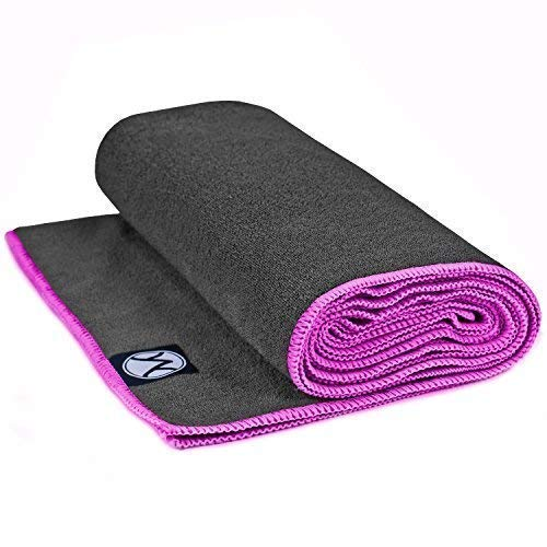 "Youphoria Hot Yoga Towel - Non-Slip Yoga Mat Towel - Perfect Microfiber Towel for Yoga and Pilates (Gray Towel/Pink Stitching - 24"" x 72"")"