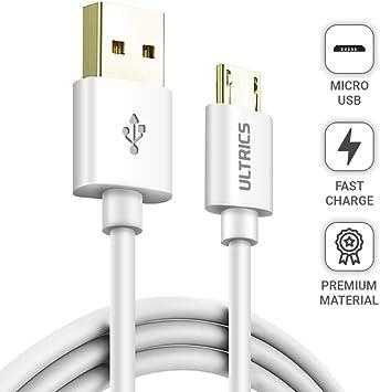 ULTRICS Cable Micro USB 3 Metros , Carga Rápida Macho A a Micro USB 2.0 Alta Velocidad