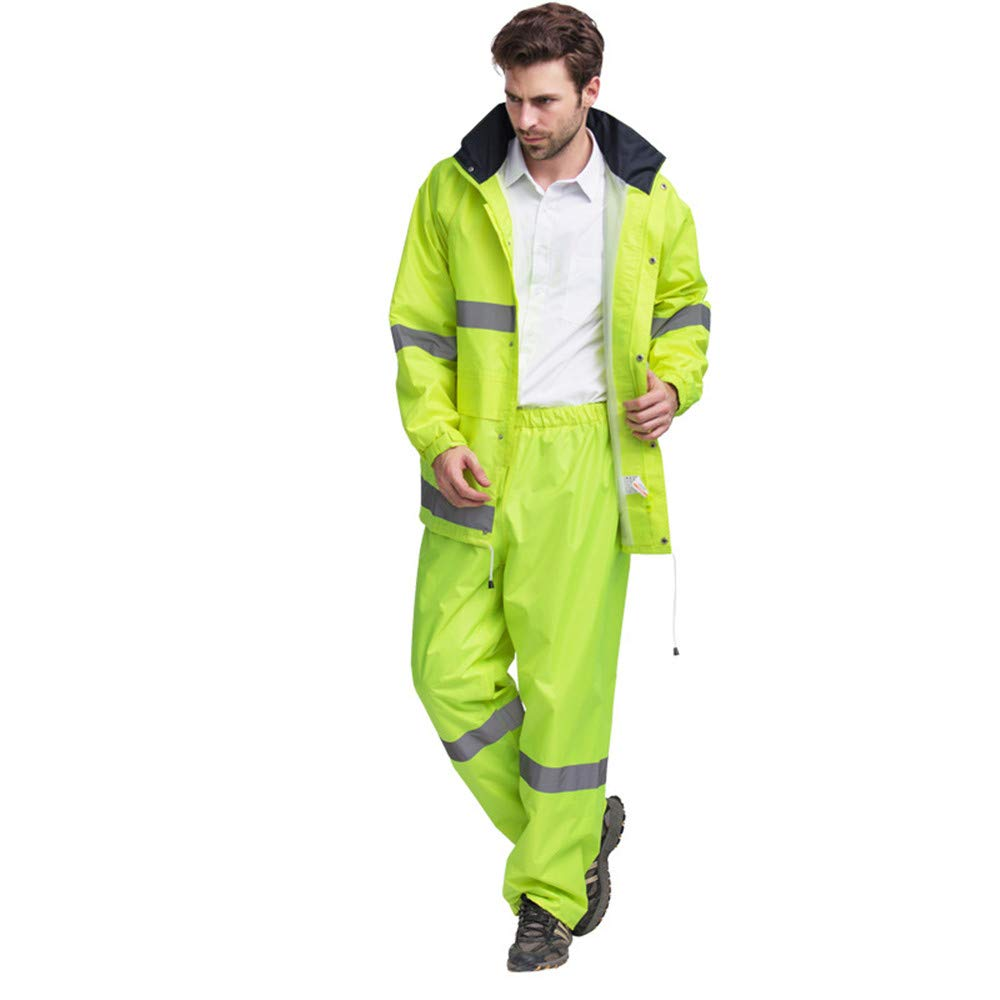 High Visibility Reflective Clothing Waterproof Rain Jacket and Pant Reflective Safety Raincoat Hooded Poncho Suit For Work Outdoor Activity Visibility Vest For Running Cycling Safety Workwear for Nig
