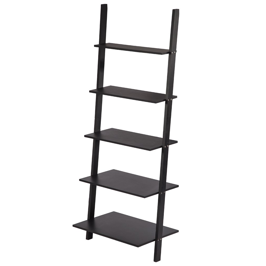 BestMassage 73'' 5 Tier Durable Wood Leaning Ladder Shelf Bookshelf Storage Shelves