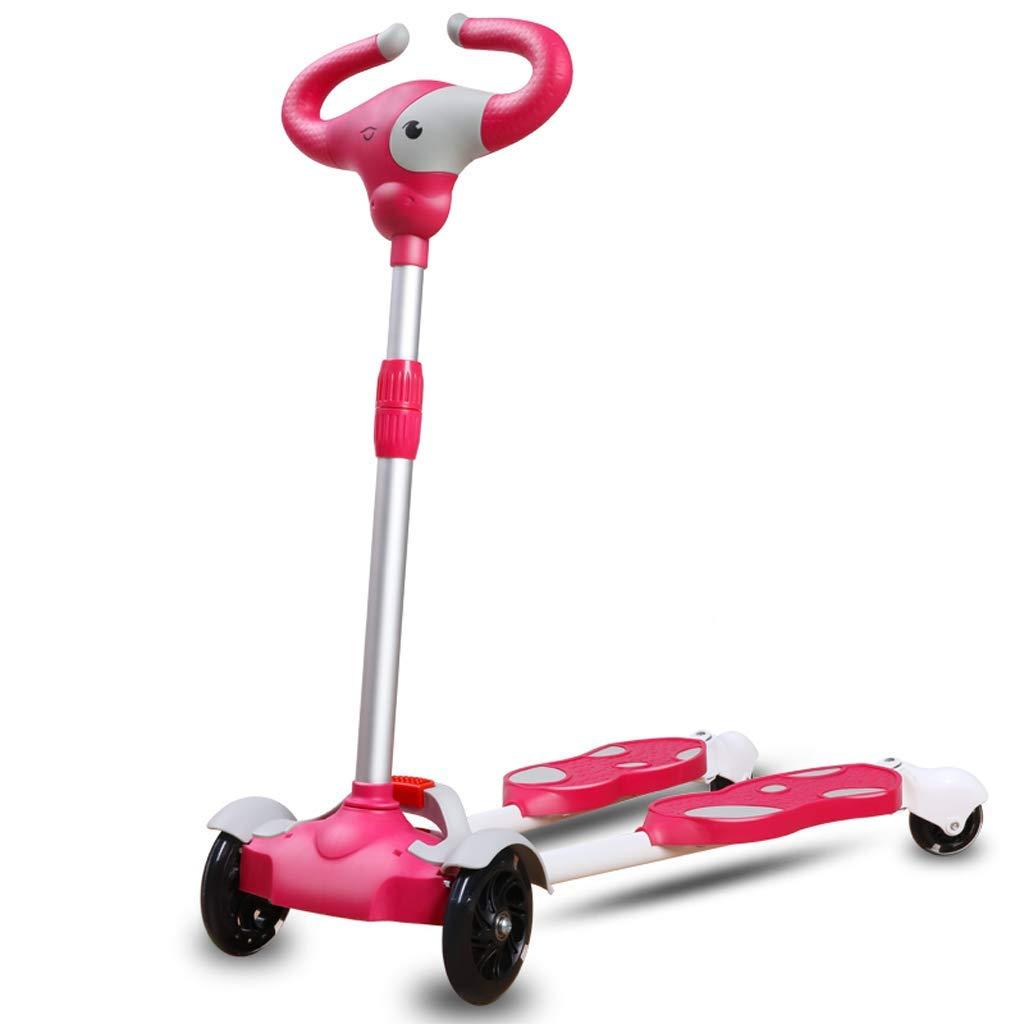 XUEYING-KickScooter Kinder Roller 2-3-6 Jahre Anfänger Jungen und Mädchen mit Vier Rädern (Farbe   Weißszlig;) Rosa