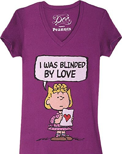 Peanuts Sally Brown Blinded By Love Purple Juniors T-shirt Tee - Juniors Stores Online