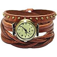 MINILUJIA Genuine Leather Braided Strap Double Wrap Aound Watch for Women Vintage Bohemian Style Bronze Small 26mm Roman Number Dial 3 Size Adjustable Brown