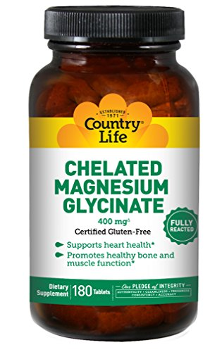 Country Life - Chelated Magnesium Glycinate, 400 mg - 180 Tablets Magnesium Malate 180 Tablets