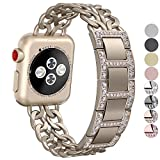 No1seller Stainless Steel Cowboy Style Watch Band for Apple Watch Series 3, Series 2, Series 1, 38mm - Diamond Version-Gold