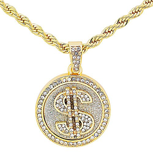 Yellow Gold-Tone Iced Out Hip Hop Bling Player Style Dollar Sign Medallion with 24